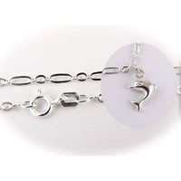 """Sterling Silver Dolphin Charm Bracelet Italy, 7.5"""""""