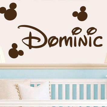 Personalized Name Mickey Mouse Wall Decal Sticker Mickey Head Name Kids Nursery Room Wall Sticker Art Vinyl Mural M-113