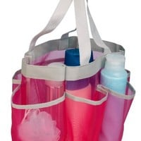 Honey-Can-Do SFT-02341 Quick Dry Shower Tote, 7-Pocket, Pink