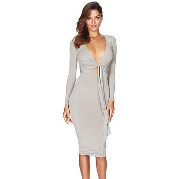 Gray Multi-way Deep V Neck Knot Tie Long Sleeve Midi Dress