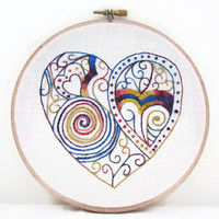 Doodle Heart hand embroidery  , yellow blue and purple modern heart embroidery hoop , wall hanging hoop art in hand dyed thread , uk seller