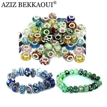 5PCS/LOT Cheap European Style Big Hole Silver Plated Diy Accessories Luxury Murano Glass Beads Fit For Pandora Bracelet Necklace