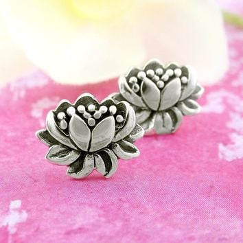 Natural Lotus Flower Earrings