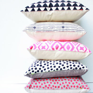 Polka Dot - hand printed repeat pattern organic screen printed pillow 18x18