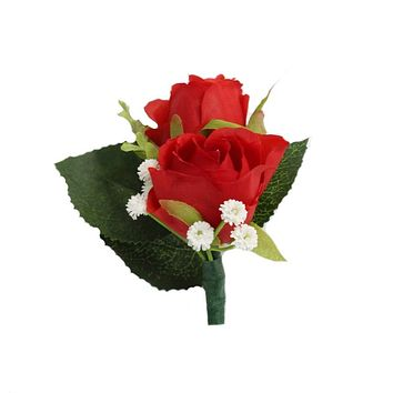 Boutonniere - Red rose with real touch white baby breath keepsake artificial flower