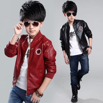 Teenage Boys Bomber PU Leather Jacket 2017 Brand New Year Kids Leather Jacket Big Boys Outerwear Children Casual Clothing