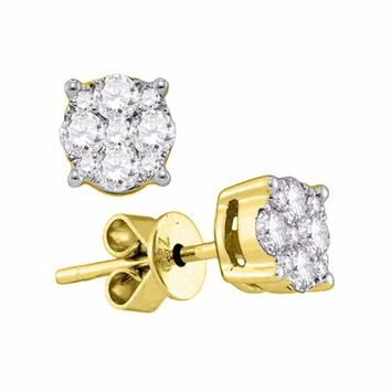 18kt Yellow Gold Women's Round Diamond Cluster Stud Earrings 7-8 Cttw - FREE Shipping (US/CAN)