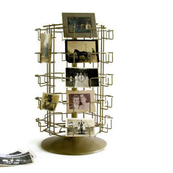 Wire Photo Card Rack Rotating Holder Shop Counter Store Tabletop Display Vintage Bronze-y Industrial Metal