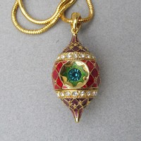 Vintage Christopher RADKO Rhinestone & Enamel Christmas Ornament Necklace