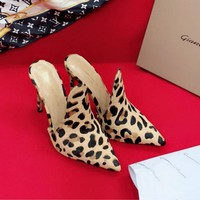 Gianvito Rossi Horse Hair Surface Shoes 105mm Stiletto Heel Brown Leopard Casual Women Shoe