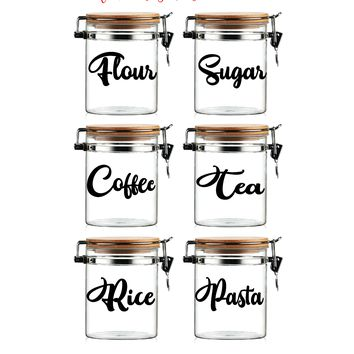 "Set of (6) SIX Vinyl Graphic Decal Stickers, (Flour, Sugar, Coffee, Tea, Rice, Pasta) Measure 5"" W x 2.5"" H each"