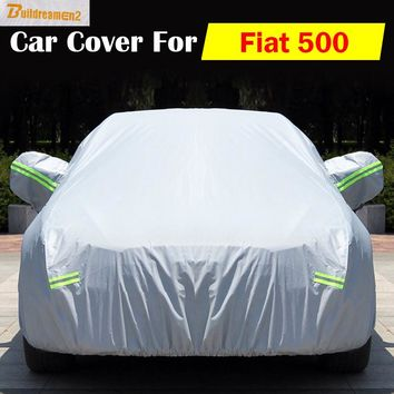 Buildreamen2 Car Cover Auto Anti UV Scratch Rain Snow Sun Resistant Dust Proof Waterproof Cover For Fiat 500