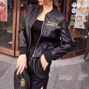 ONETOW Gucci' Women Fashion Logo Letter Pattern Long Sleeve Zip Cardigan  PU Leather Baseball Clothes Jacket Small Coat