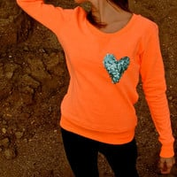 "The ""Dazzle Pocket"" Sweatshirt -  Orange w/Sequin Heart Chest Pocket"