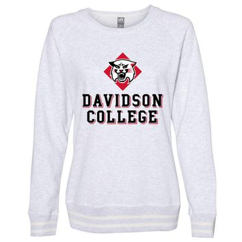 Official NCAA Davidson College PPDSC03 Women's Crewneck Sweatshirt with White Striped Edges