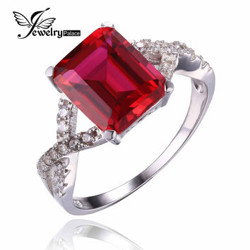 Emerald Cut Fashion Gem Stone For Women 4ct Pigeon Blood Red Ruby Ring Set Solid Genuine Solid 925 Sterling Silver Free Shipping