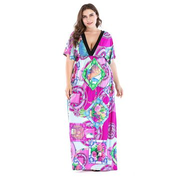 Women's Plus Size Retro Print Maxi Dress with Deep V and Short Sleeves.   In Sizes From Large to 7XL.   ***FREE SHIPPING***