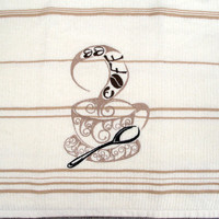Light Cream Embroidered kitchen dish towel with coffee cup
