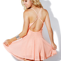 Papaya Clothing Online :: BACK CROSS STRIMG MESH FLARE DRESS