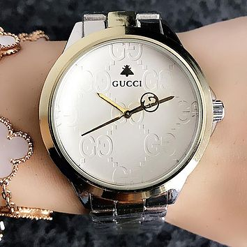 GUCCI Fashion Women Men Quartz Watches Business Wrist Watch Silvery+Golden I-H-JH