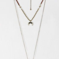 Double Layer Horn Pendant Necklace