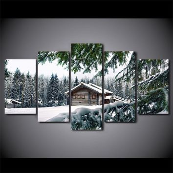 "Cabin in snow winter scene 5 panel wall art on canvas - 84"" option"