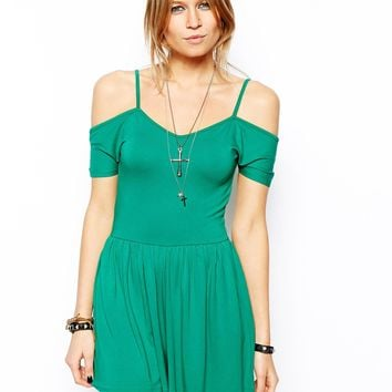 ASOS Cold Shoulder Playsuit - Green
