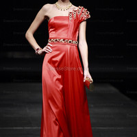 A-line One Shoulder Satin Floor-length Red Rhinestone Evening Dress at dressestore.co.uk