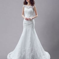 Illusion Backless Mermaid Wedding Gown
