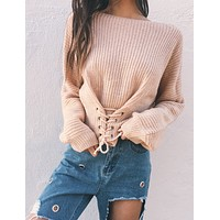 Women Solid Color Bandage Long Sleeve Sweater Short Knitwear Tops
