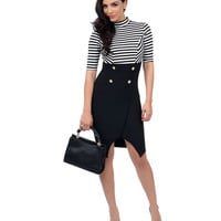 Black & White Striped Ponti Wrapover Midi Wiggle Dress