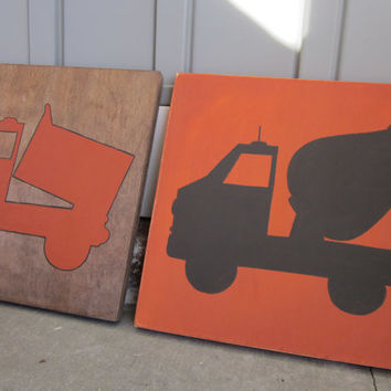 Construction Art for Boy's Room - Painted Wood Sign art, wall decor, Rustic, Nursery, Orange, Walnut Stain, Cement Mixer Truck, Dumptruck