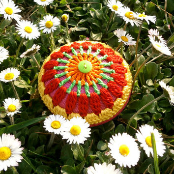 Crochet bag - Mandala Coin Purse - Orange, Green, Red And Yellow, Green Button, Pink Base