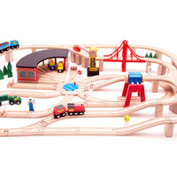 Wooden Railway Set, Children's Toys