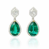 2.29ct Diamond and GIA Certified Emerald 18k Two Tone Gold Dangle Earrings