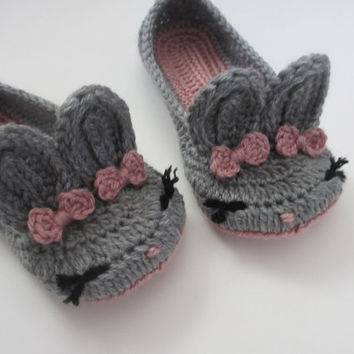 Women's Bunny Slippers Crochet Bunny Ears Easter Gift Womens sizes 4 5 6 7 8 9 10 toddler child orchid gray mist