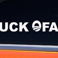 BUCK OFAMA funny anti obama window bumper sticker - white vinyl no democrat 2012 decal