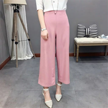 Summer Women's Fashion High Rise Ruffle Pants Cropped Pants [4919997380]