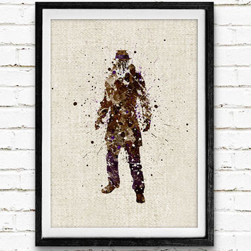 Rorschach Watercolor Print, DC Comics Watchmen Superhero Poster, Boys Room Wall Art, Home Decor, Not Framed, Buy 2 Get 1 Free!