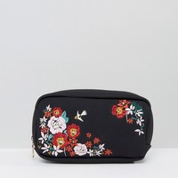 New Look Large Embroidered Make Up Bag at asos.com
