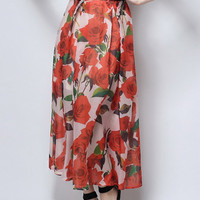 Red Floral Leaves Print Ruched High Waisted Maxi Skirt