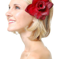 Danger Lilly Large Red Rose Sparkle Hair Clip - Unique Vintage - Bridesmaid & Wedding Dresses