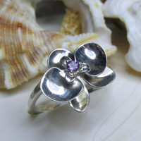 Sterling Silver Phalaenopsis Orchid Ring with Amethyst 3D Size 8