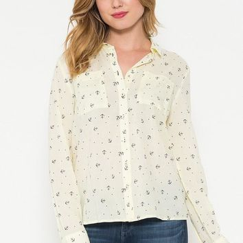 Anchor Print Button Up Shirt