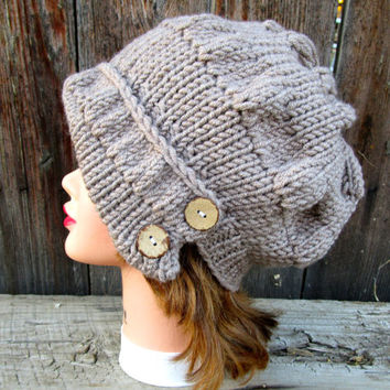 Taupe Cloche - Knit Hat With Buttons - Women's Cloche - Flapper Hat - Asymmetrical Cloche - 1920s Cloche Hat - Ruched Hat - Chunky Headwear