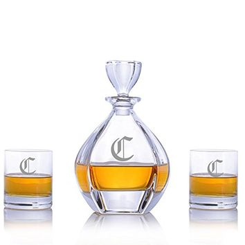 Crystalize Laguna Liquor Decanter (3 Piece Set-Customizable)