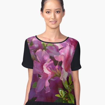 'Pink rhododendron ' Women's Chiffon Top by Zina Stromberg