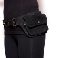 Single Pocket Belt - Hip Handmade Suede Waist Pack Bag Party Festival Style Belt Utility Pouch Playa psy trance rave