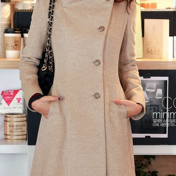 Beige Wool Jacket Women Coat Pashm women dress Autumn Winter