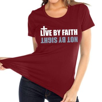 Live By Faith Women's Christian Relaxed Fit Crew Neck T Shirt